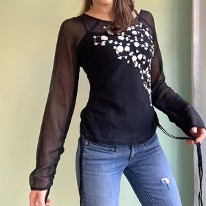 Sexy Sheer Black Floral Long Sleeve Blouse